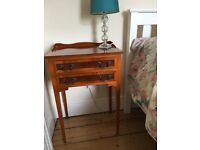 Reproduction beautifully made two drawer bedside table