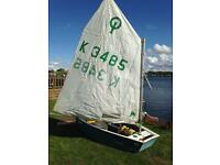 Grp Optimist sailing dinghy, 8ft, sail no: k3485 everything inc as well as launching trolley