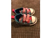 Baby Girls Converse Size 4 Blue and Pink