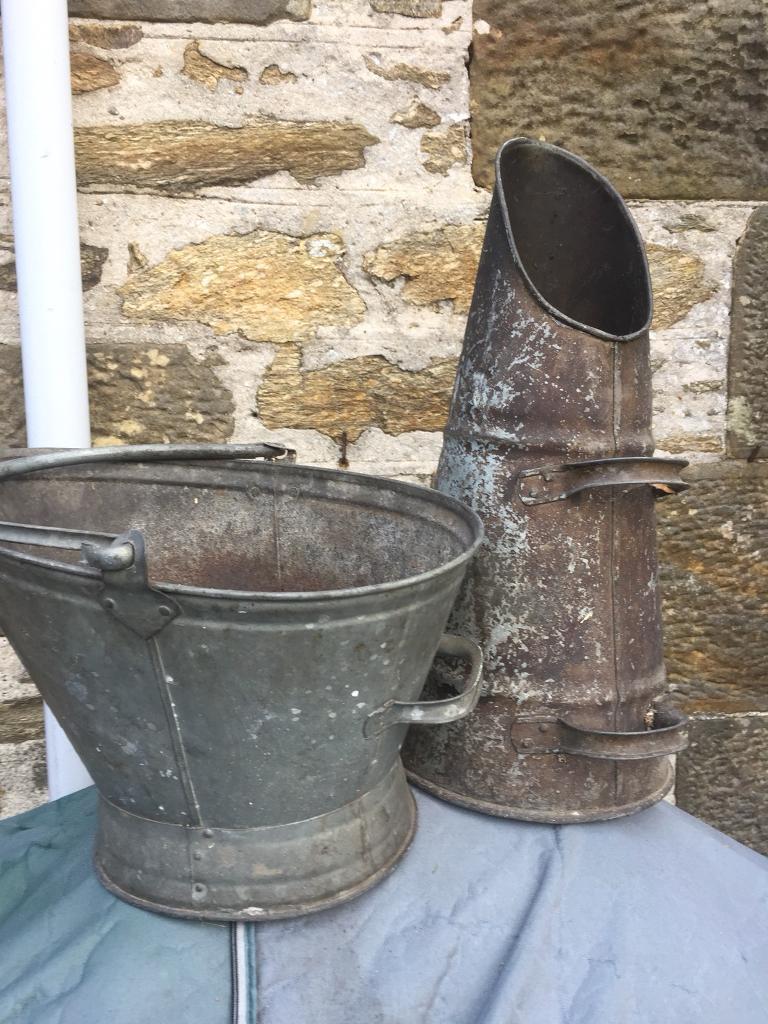 Metal fireside bucket and coal scuttle