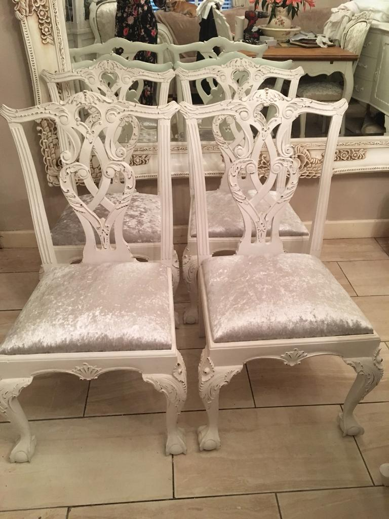 4 Carved Kitchen Chairs