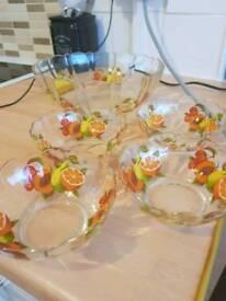 Beautiful glass bowls gold rim