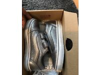 Old Skool Velcro Silver Glitter Shoes