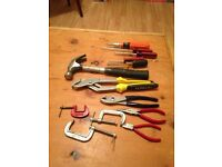 Assorted hand tools (hammer, screwdrivers, clamps, wrenches, etc)