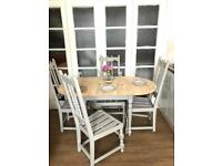 Table and 4 chairs free delivery Ldn🇬🇧shabby chic rustic farmhouse