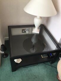 Black Glass Top Coffee Table, very good condition 750 x 750 x 400