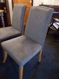 4 Silver Grey Velour Studded Dining Room Chairs From Wayfair