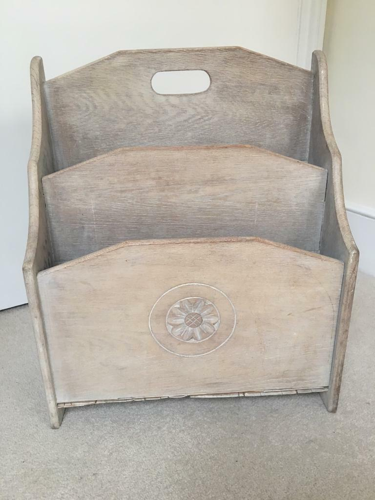 Vintage looking bleached oak magazine rack with limed finish