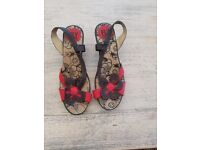 Fly London black and red wedge sandals size 37 (UK size 4)