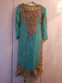 Teal and gold kameez and churridar from Khusboos by Chaand
