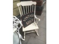 ROCKING CHAIR PAINTED WHITE SHABBY CHIC SOLID WOOD