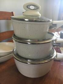 Salter marble saucepans x 5