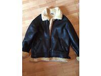 LEATHER SHEEPSKIN fleece jacket More less new
