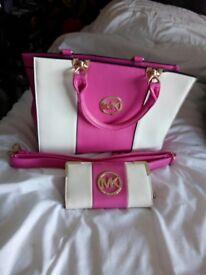 Pink mk bag and purse