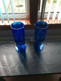 Two blue acrylic modern lamps