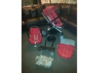Quinny pushchair, quinny buggy board and maxi cosi carseat