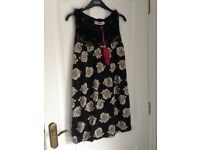 Miss Real Cute BLack Floral Dress - size 10 NEW