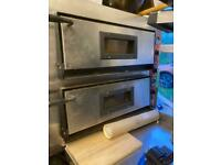 Commercial double deck pizza oven