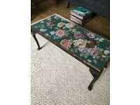 Vintage Shabby Chic Wooden Coffee Table with Floral Tapestry