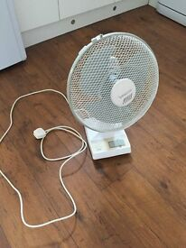 White electric 12 inch desk fan.
