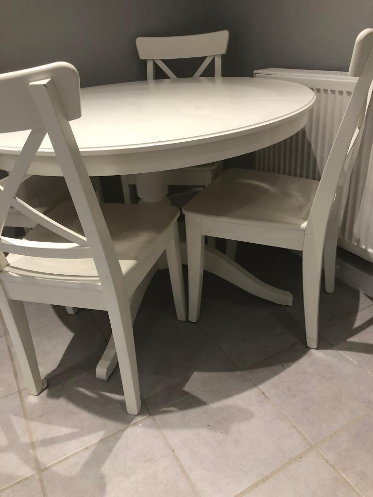 Ikea White Round Extendable Table With Four Chairs