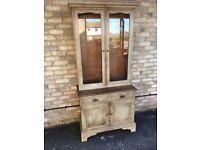 DRESSER DISPLAY CABINET GUSTAVIAN STYLE WITH SHELVING CUPBOARD STORAGE SOLID WOOD