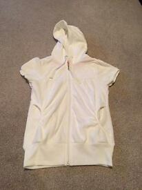 White short sleeved velour hooded zip up top size 8