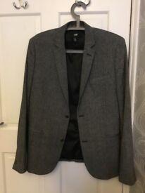 H&M Grey and black small fleck men's dress jacket size EU 48
