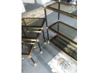 Superb Brass and Glass 3 Shelf Bookcase and Matching 3 Tiered Stackable Side Tables