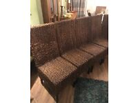 4 Oak Furniture Land Rattan Dining Chairs. Excellent Condition. Can Deliver