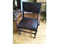 Antique vintage dining chairs x 6, leather with brass studs - gothic style