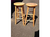 Pair of Solid Pine Kitchen Stools