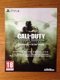 Call of duty modern warfare remasterd PS4 code