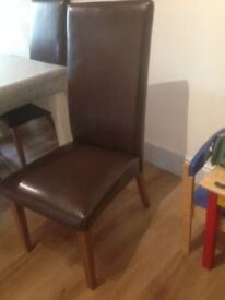 Brown Leather or leatherette(?) dining kitchen chairs x 4 with wooden legs