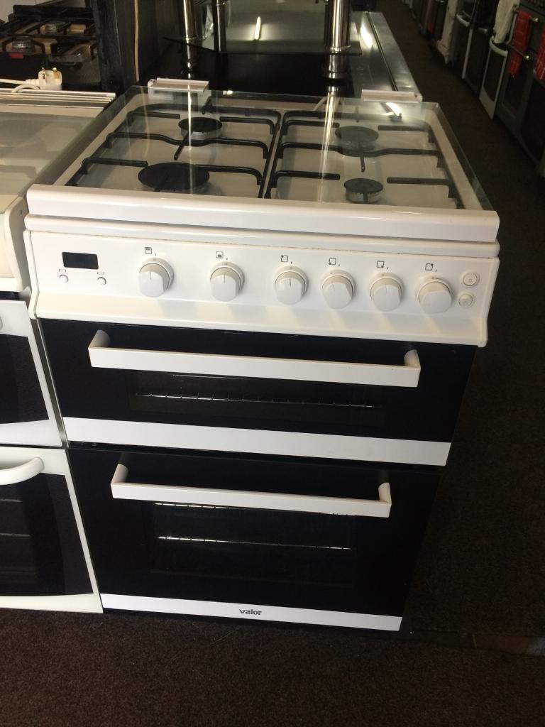 White valor 60cm gas cooker grill & double ovens good condition with guarantee