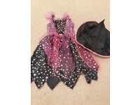 Purple and black witches costume with hat