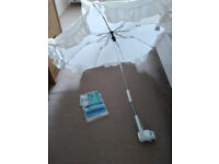 Mothercare White Baby Buggy Sun Parasol/ Umbrella in very good condition.