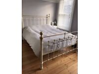 Cream & gold king size metal bed frame M&S Castello range, sprung slats, 2 years old