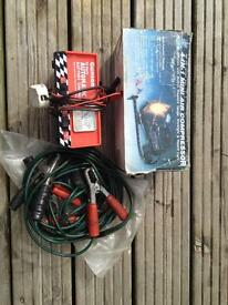 Battery charger air compressor and jump leads