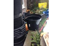 Job lot of black heavy duty plant pots .
