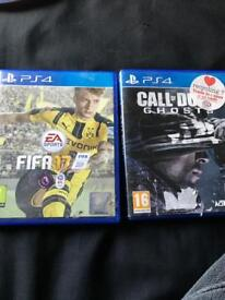 PS4(call of duty ghosts+fifa17)