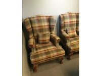 Parker Knoll Chairs upholstered in Mulberry check Fabric