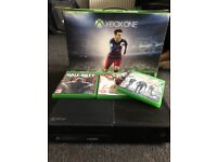 Xbox one, two controllers & games