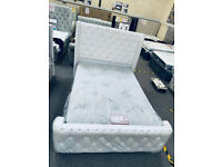 🔴🔵 PLUSH VELVET WHITE AND BLUE COLOUR DOUBLE/KING BED FRAME ONLY 270/295 GBP