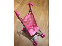 Baby toy dolly Pram Stroller pink polka dot push along