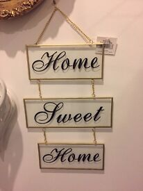 Home Sweet Home Glass Art Plaque - Shabby Chic - 4 Available
