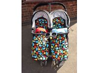 Baby jogger city mini double inc cosey toes, belly bar, rain cover, head hugger, snack pod