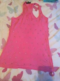 Pink vest top river island size 8