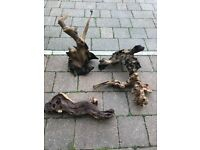 4 x bog wood for fish all clean and v g c look pic 20 Pounds for all 4
