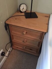 Solid Pine small bedside drawers